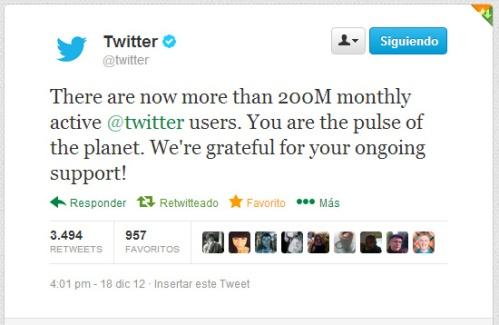 Tuit publicado en el canal oficial @twitter
