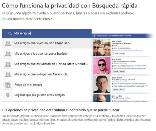 privacidad Graph Search facebook