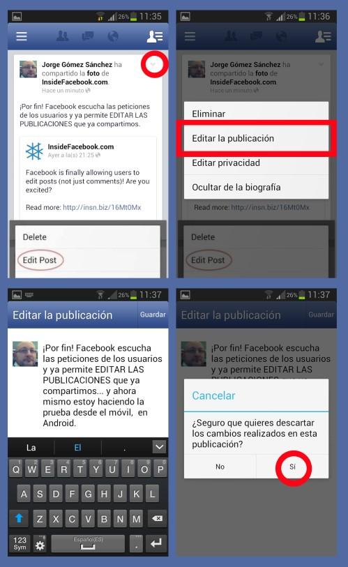 Edición post en Facebook móvil con Android