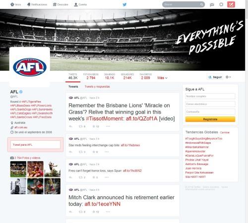 Nuevo diseño Twitter: perfil Liga de fútbol australiana