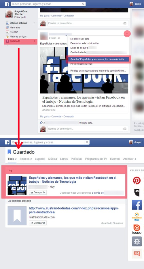guardar post- facebook