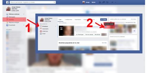 eliminar evento facebook paso 1 @socialmediados
