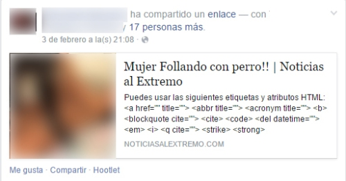 Captura falso video porno en Facebook